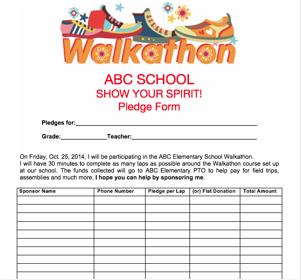 Walkathon Registration form Template Pto Spring Activities Use Our Printables for Up Ing