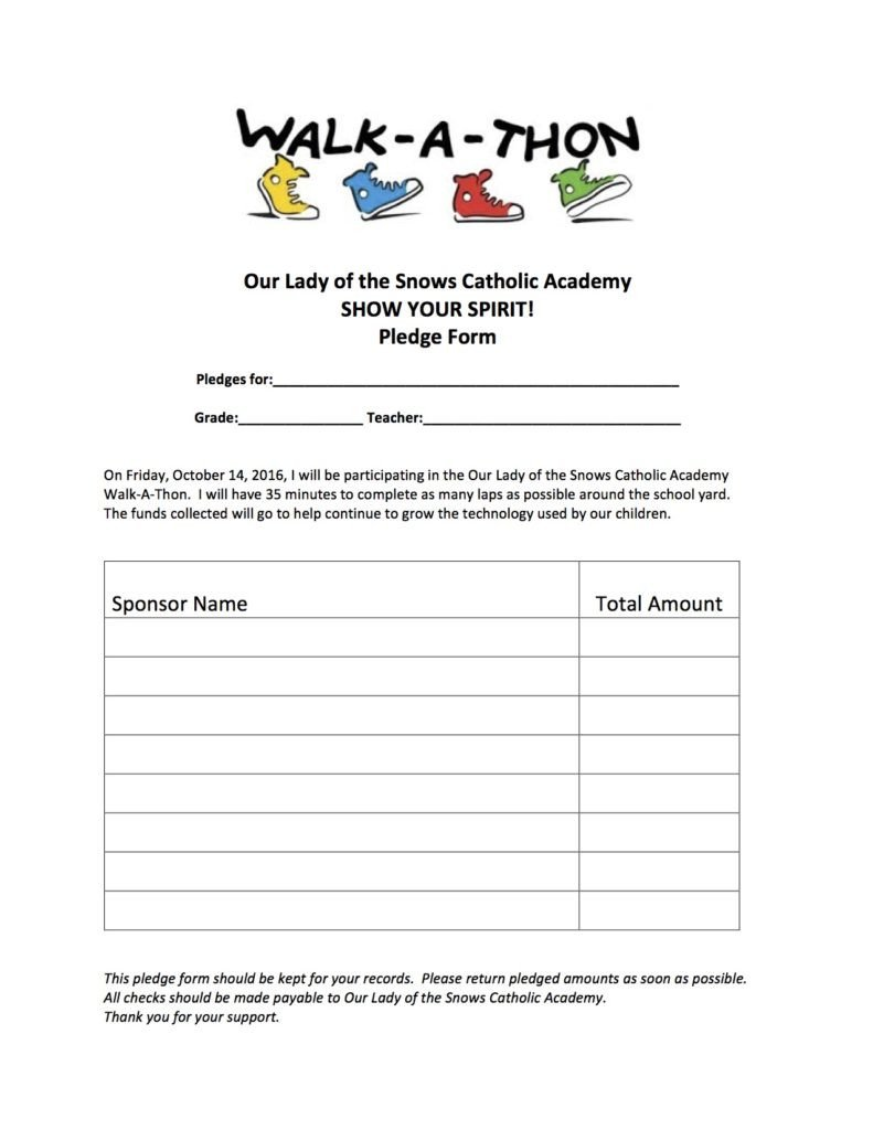Walkathon Registration form Template Walk A Thon Pledge form Our Lady Of the Snows Catholic