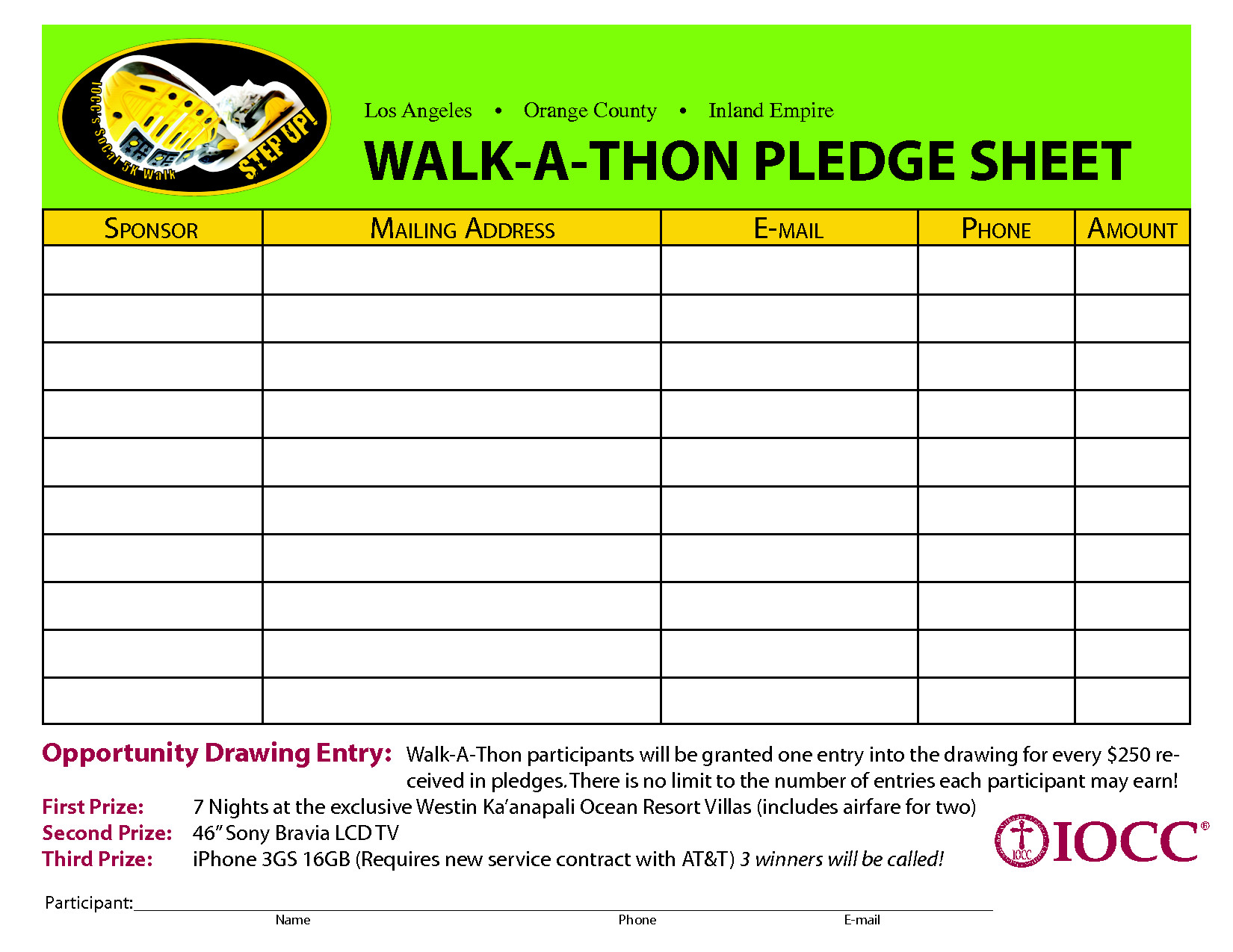 Walkathon Registration form Template Walk A Thon Pledge Sheet Google Search