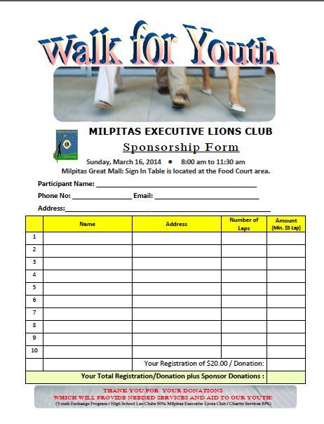 Walkathon Registration form Template Walk for Youth 2014 Sponsorship form