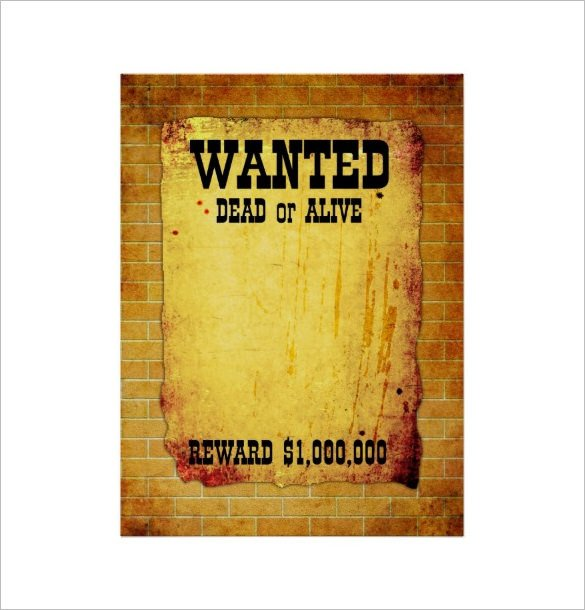 Wanted Poster Template Free Printable 14 Blank Wanted Poster Templates Free Printable Sample