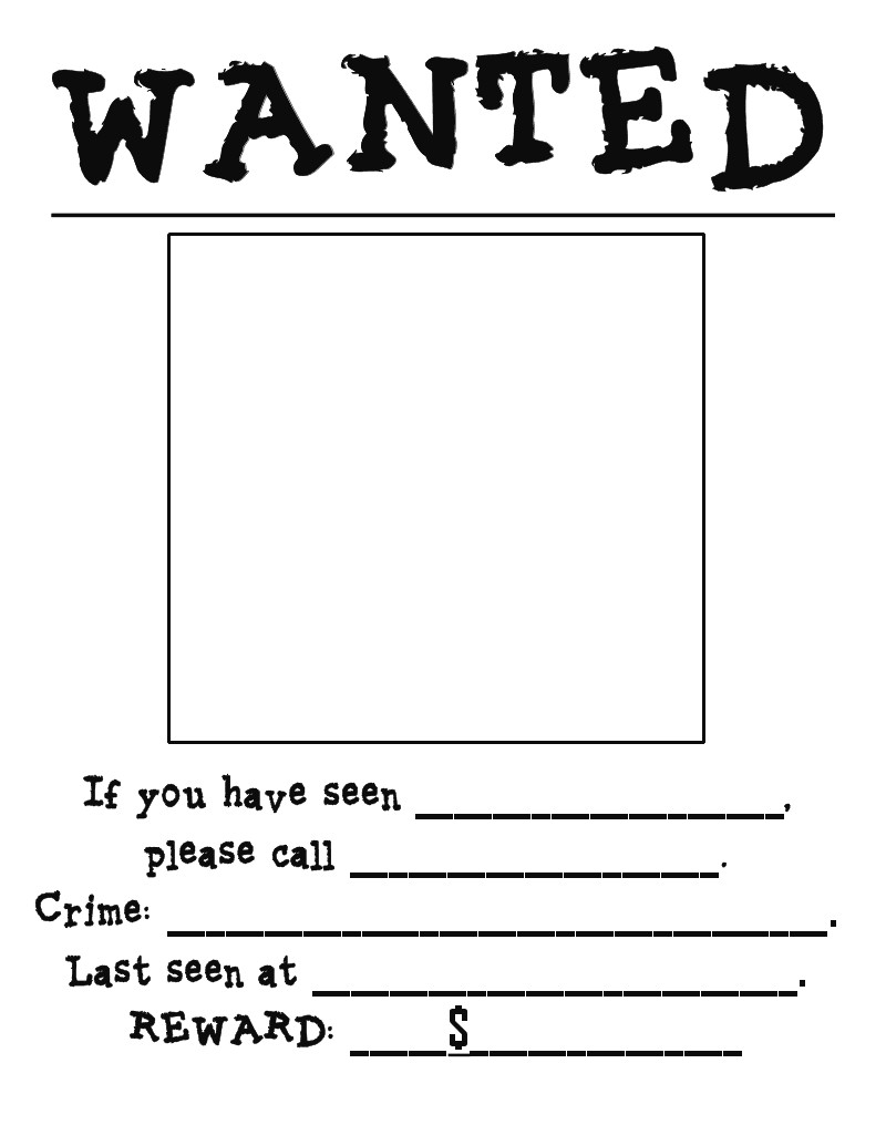 Wanted Poster Template Free Printable First Grade Pandamonium