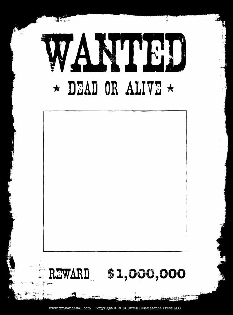 Wanted Poster Template Free Printable Tim Van De Vall Ics & Printables for Kids