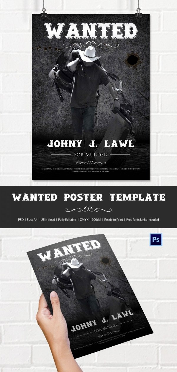 Wanted Poster Template Free Wanted Poster Template 34 Free Printable Word Psd