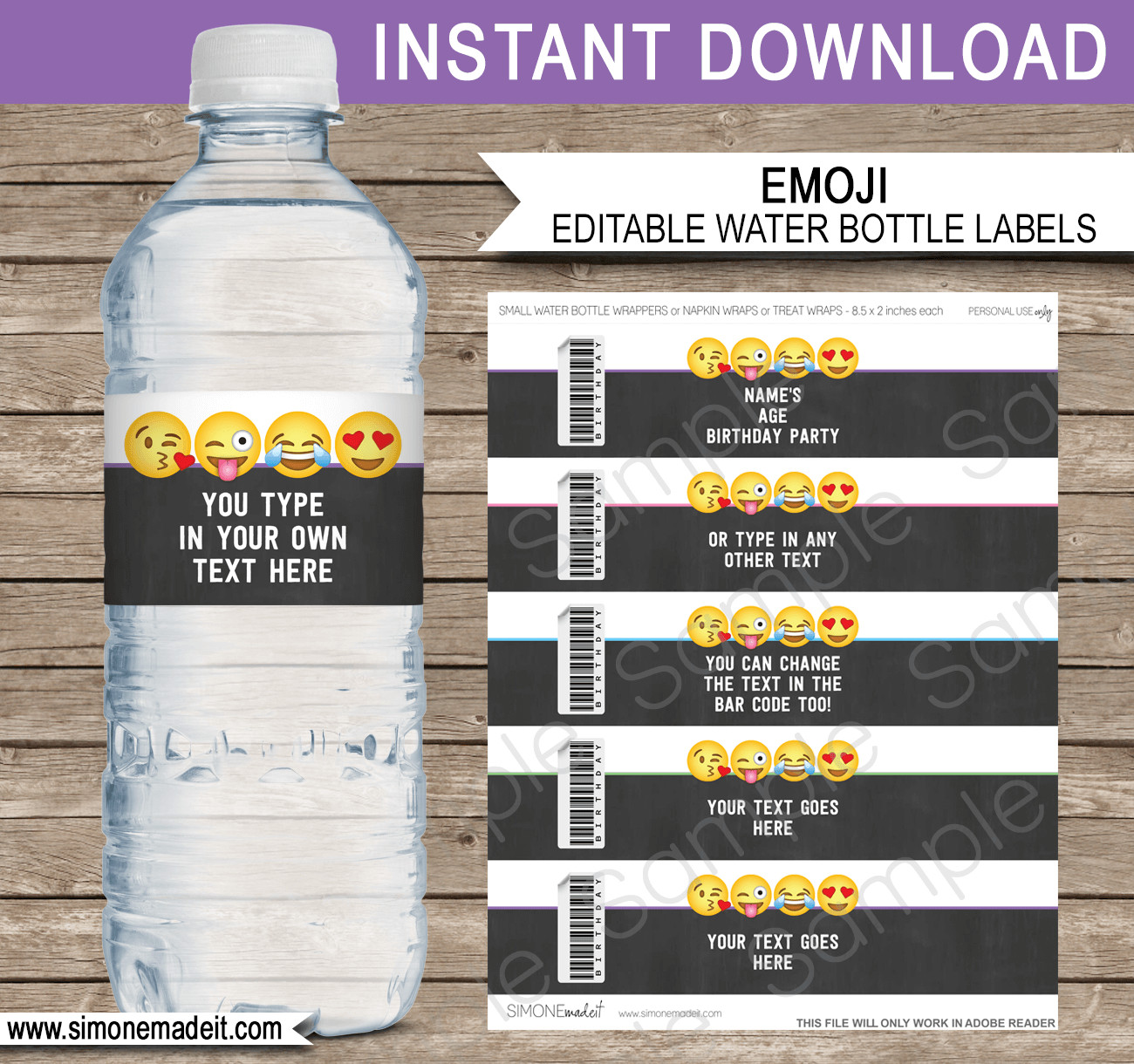 Water Bottle Label Template Free Emoji theme Birthday Party Printables