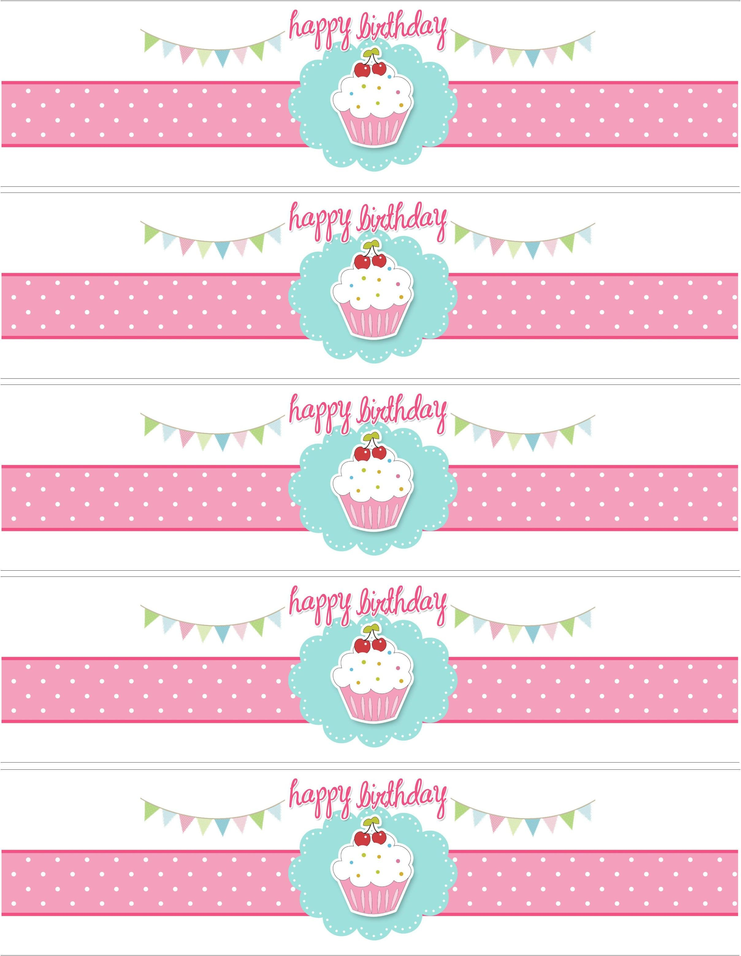 Water Bottle Labels Template Cupcake themed Birthday Party with Free Printables