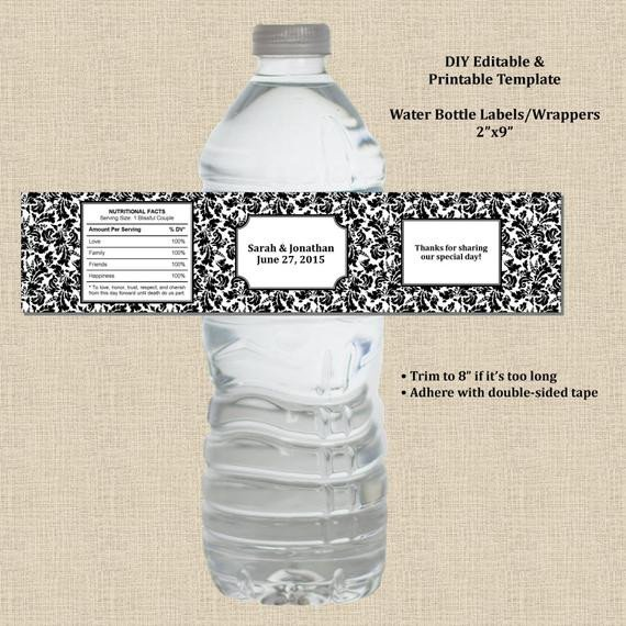 Water Bottle Wrapper Template Wedding Water Bottle Label Wrapper 2x9 Black White Damask