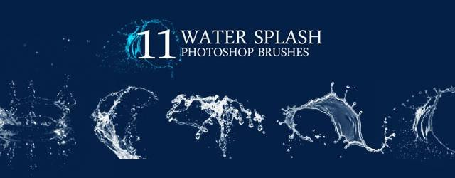 Water Splash Brush Photoshop 無料素材:弾ける水しぶきが綺麗な Shop用ブラシ11種類セット