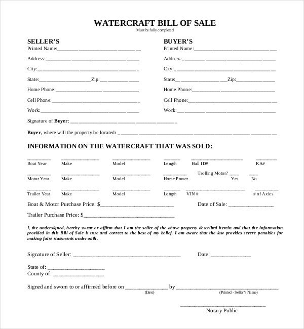 Watercraft Bill Of Sale Free 15 Sample Boat Bill Of Sale forms In Pdf