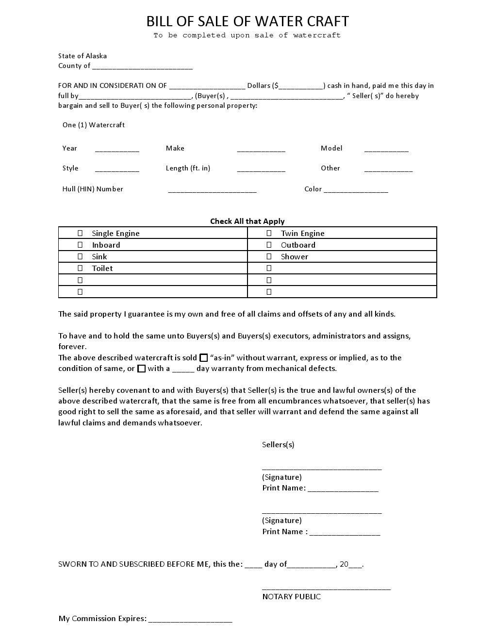 Watercraft Bill Of Sale Free Alaska Watercraft Bill Of Sale form Download Pdf