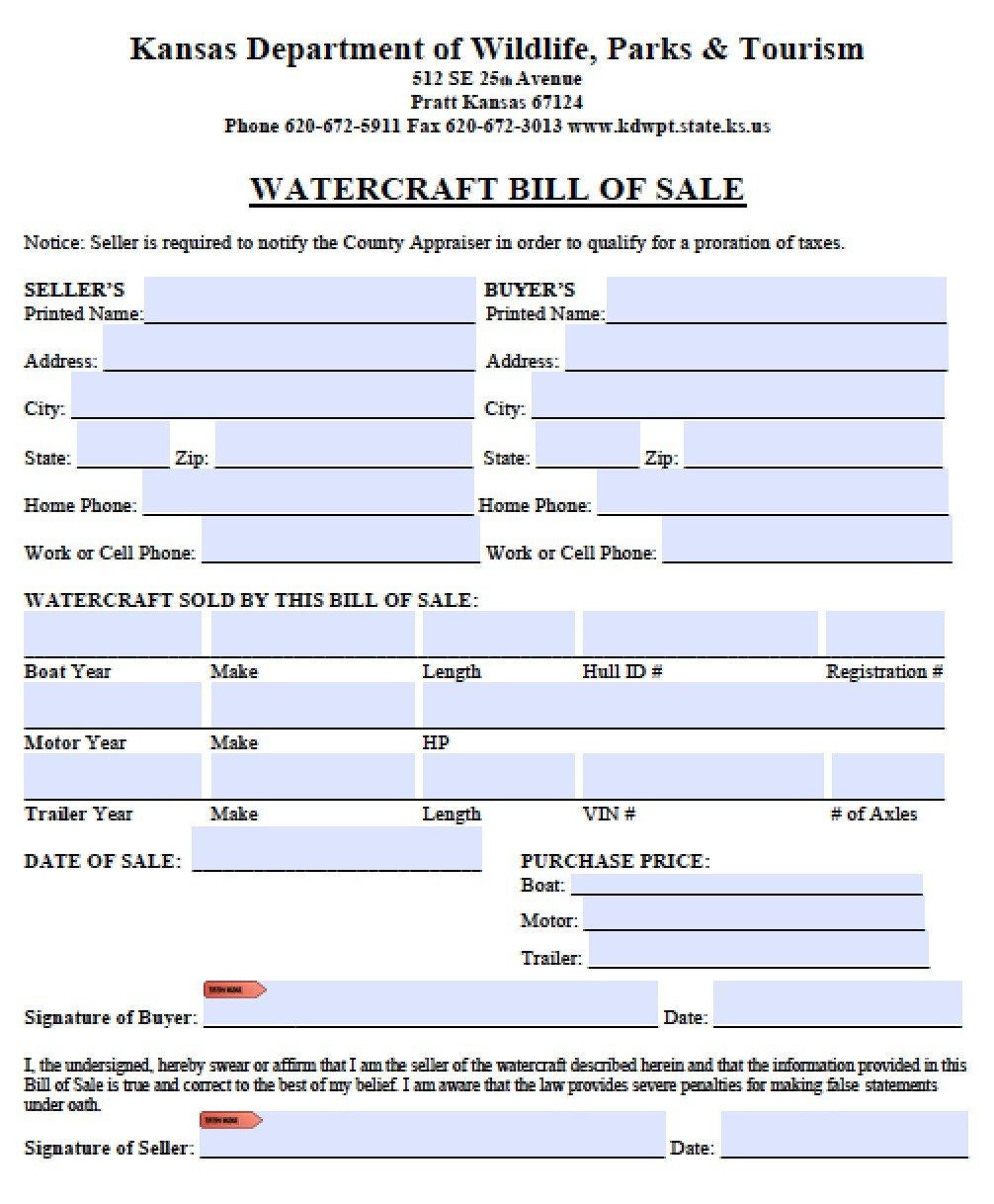 Watercraft Bill Of Sale Free Kansas Vessel Bill Of Sale form Pdf