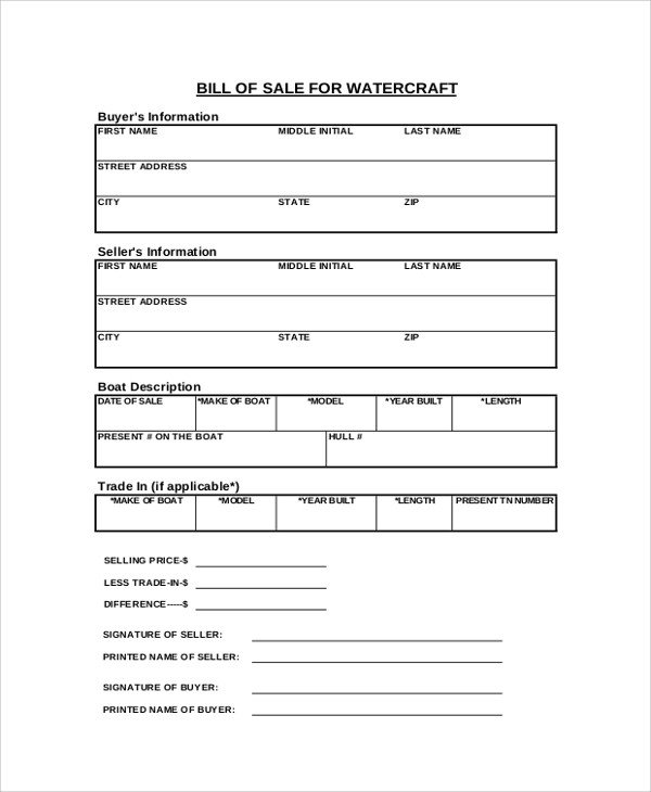 Watercraft Bill Of Sale Sample Blank Bill Of Sale 9 Examples In Pdf Word