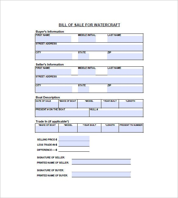 Watercraft Bill Of Sale Watercraft Bill Of Sale – 8 Free Sample Example format