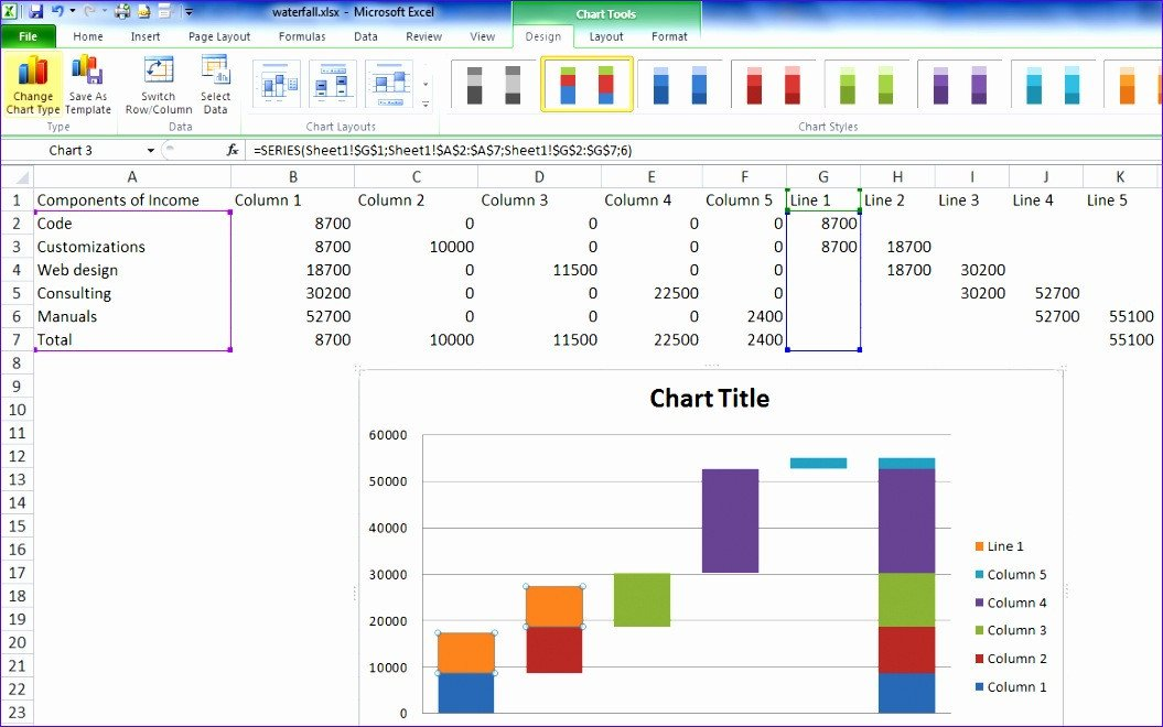 Waterfall Chart Excel Template 12 Waterfall Template Excel 2010 Exceltemplates