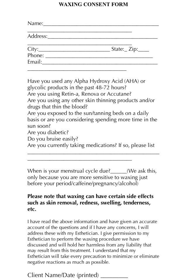 Waxing Consultation form Template A Simple and Easy Waxing Consent form for Your Clients to