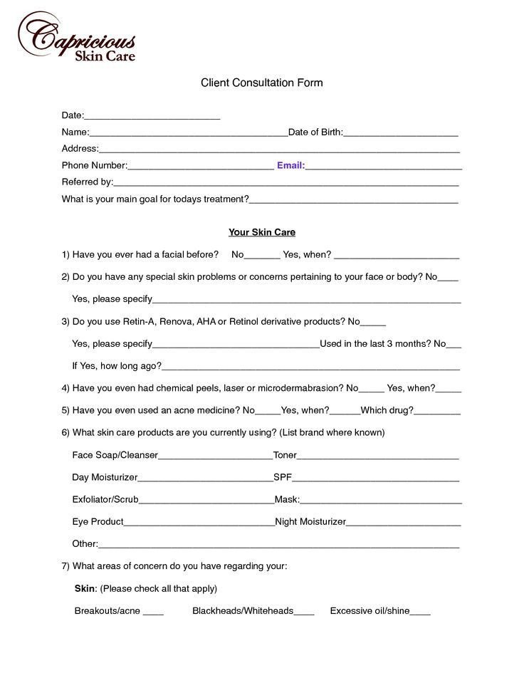 Waxing Consultation form Template Client Consultation Card for Spa Google Search