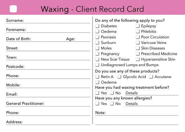 Waxing Consultation form Template Waxing Client Card Treatment Consultation Card – Beauty