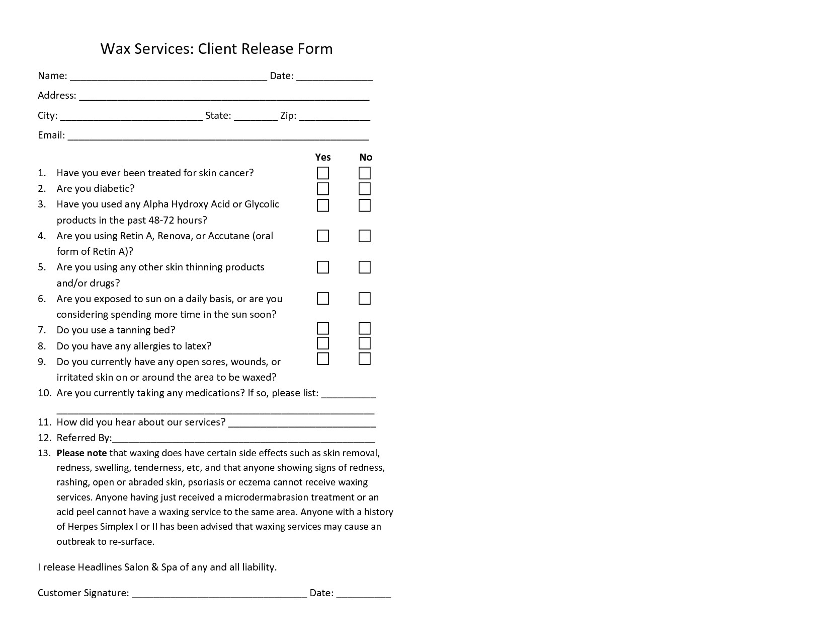 Waxing Consultation form Template Waxing Consent form Template Waxing form