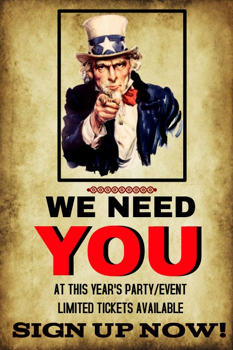 We Want You Poster Party or event We Need You Template