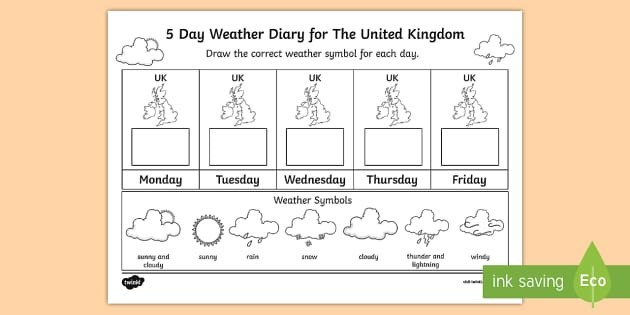 Weather Journal Template 5 Day Weather Diary for the United Kingdom Worksheet