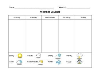 Weather Journal Template Kindergarten Weather Journal by Erin Mulhern
