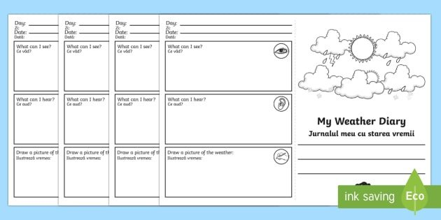 Weather Journal Template My Weather Diary Booklet Template Romanian