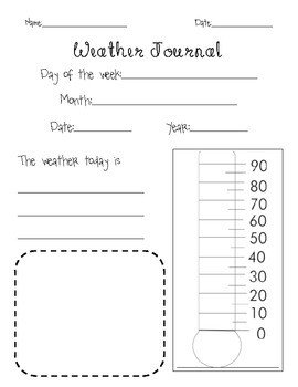 Weather Journal Template Weather Journal Page with thermometer by Taylor Moore