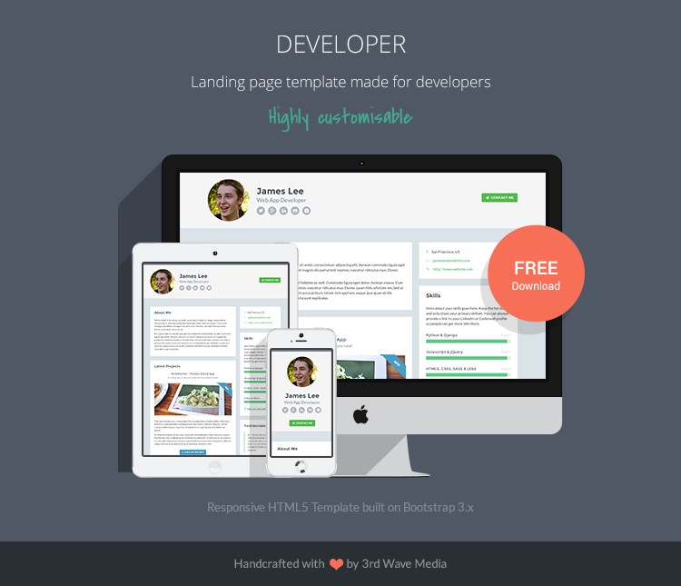 Web Developer Portfolio Templates Free Responsive Website Template for Developers
