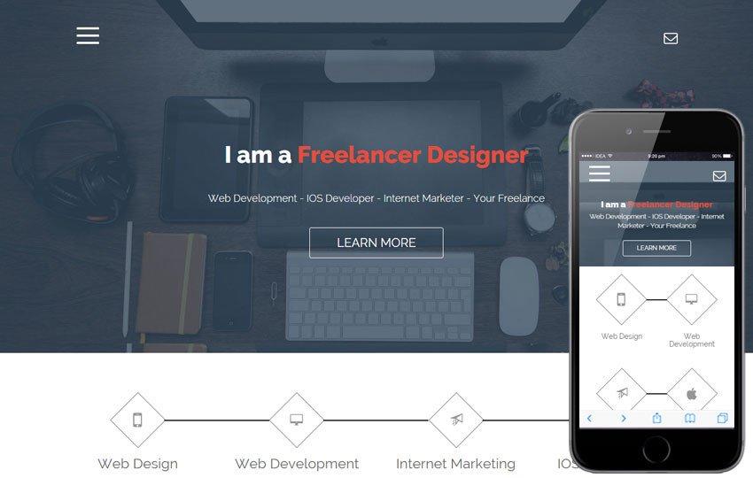 Web Developer Portfolio Templates Freelance A Epage Portfolio Flat Bootstrap Responsive