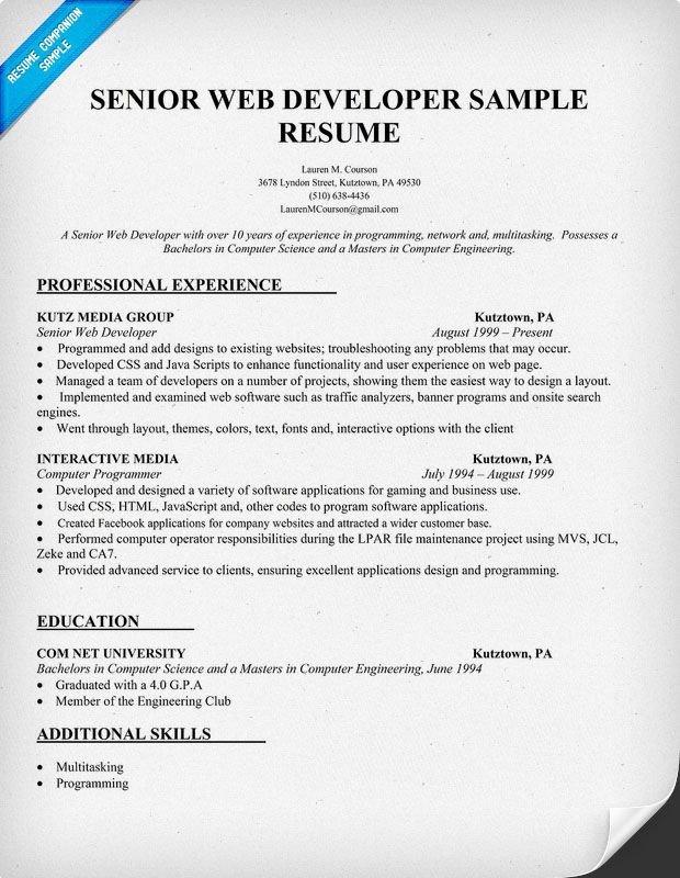 Web Developer Resume Examples Resume Sample Senior Web Developer Resume Panion