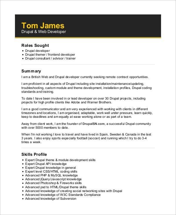 Web Developer Resume Examples Sample Web Developer Resume 10 Examples In Word Pdf