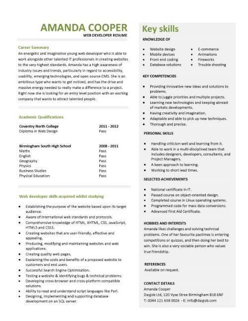 Web Developer Resume Examples Student Entry Level Web Developer Resume Template