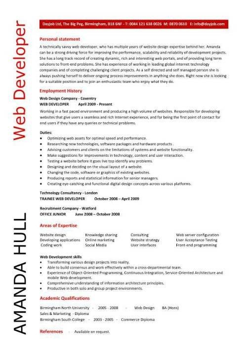 Web Developer Resume Examples Web Design Resume Sample