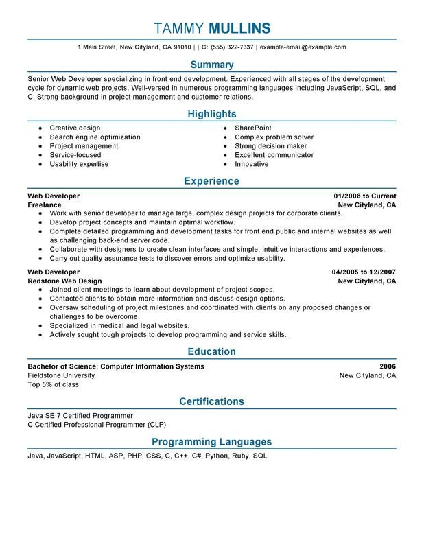 Web Developer Resume Examples Web Developer Resume Examples Created by Pros