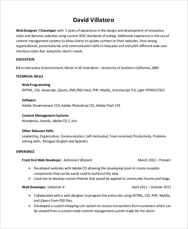 Web Developer Resume Sample Sample Web Developer Resume 10 Examples In Word Pdf
