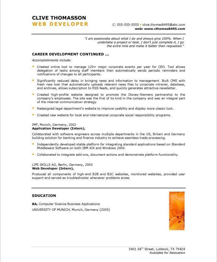 Web Developer Resume Sample Web Developer Free Resume Samples