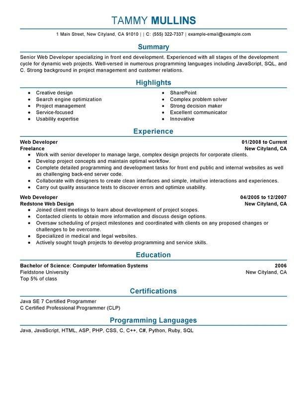 Web Developer Resume Sample Web Developer Resume Examples Created by Pros