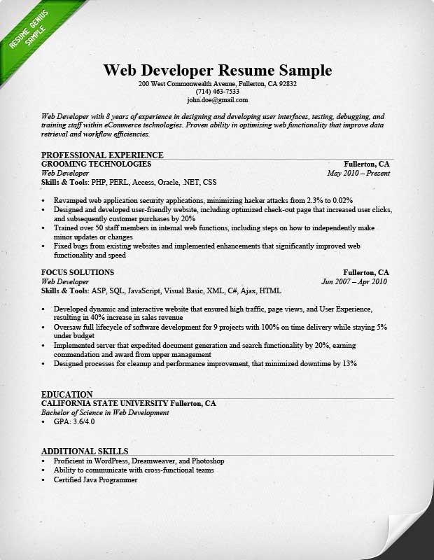 Web Developer Resume Sample Web Developer Resume Sample & Writing Tips