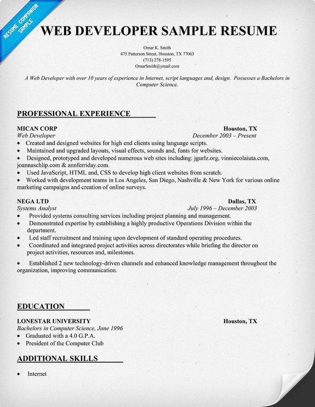 Web Developer Resume Sample Web Developer Resume Sample Resume Panion