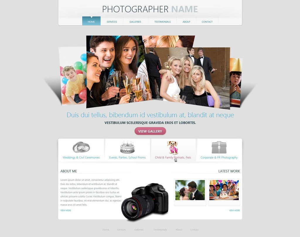 Web Template for Photographer Grapher Website Template