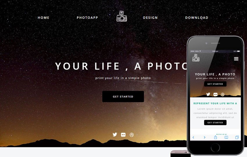 Web Template for Photographer Time A Grapher Portfolio Flat Bootstrap