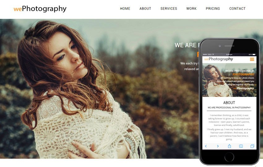 Web Template for Photographer We Graphy A Grapher Portfolio Flat Bootstrap