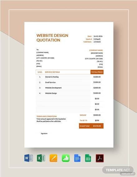 Website Design Quotation Template 13 Website Quotation Samples Pdf Word Pages