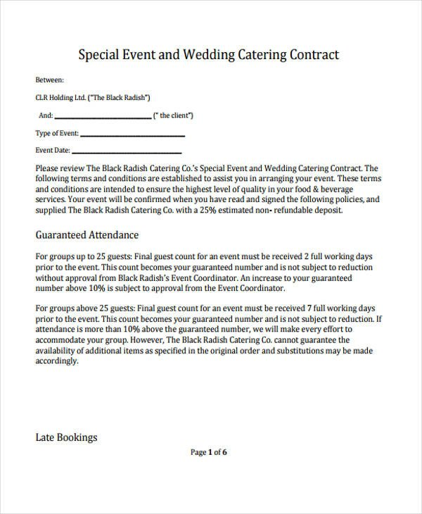 Wedding Catering Contract Template 13 Catering Contract Templates Apple Pages Google Docs