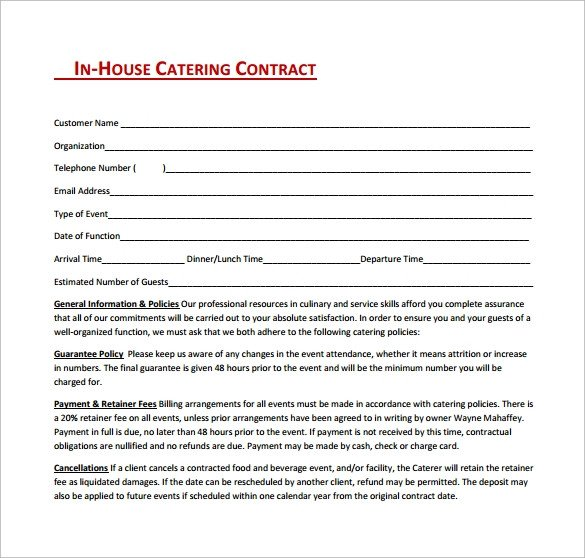 Wedding Catering Contract Template 13 Sample Catering Contract Templates Pdf Word Apple