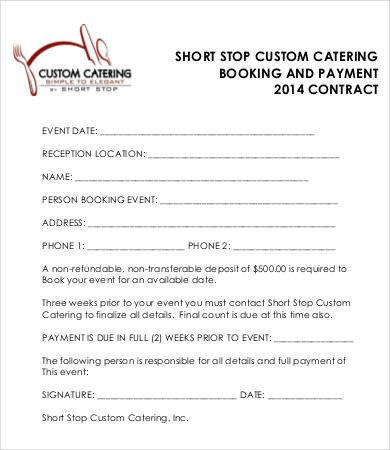 Wedding Catering Contract Template 16 Sample Catering Contract Templates Docs Pages Word