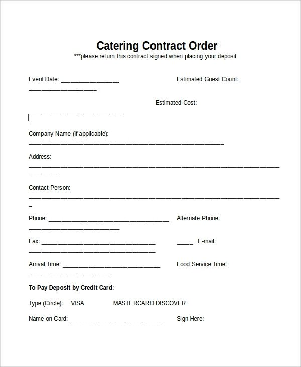 Wedding Catering Contract Template 33 Contract Templates Word Docs Pages