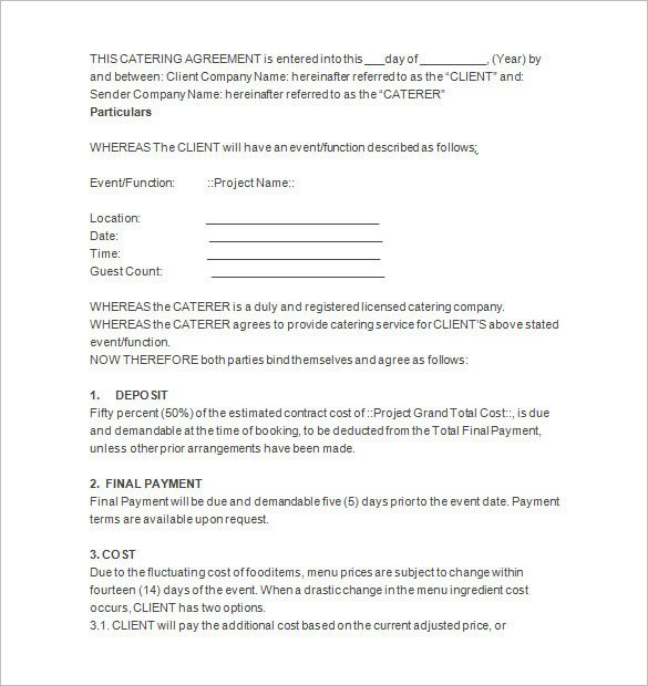 Wedding Catering Contract Template 7 Catering Contract Templates Docs Pages