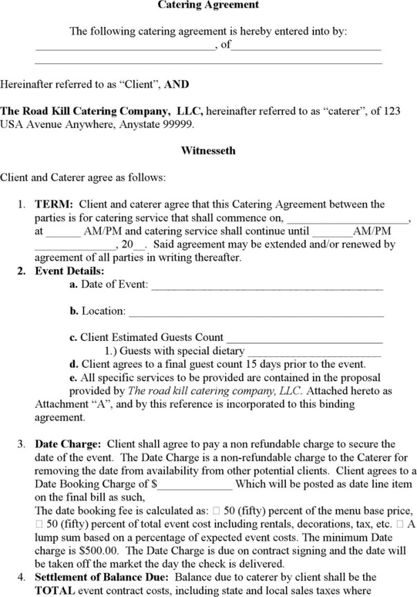 Wedding Catering Contract Template Catering Contract Templates Find Word Templates