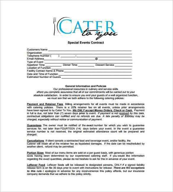 Wedding Catering Contract Template Catering Contract Templates Word Excel Samples